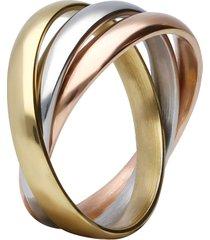 anello acciaio tricolore a fasce per donna