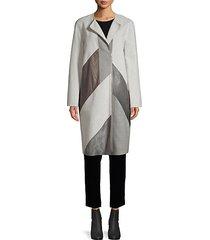 wool-blend, calf hair & leather combo coat