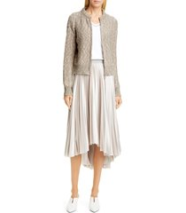women's fabiana filippi marled metallic cardigan, size 6 us / 42 it - beige