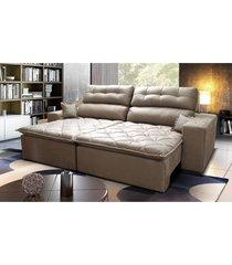 sofã¡ 2,52m retrã¡til e reclinã¡vel com molas cama inbox confort tecido suede velusoft castor - incolor - dafiti