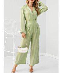 yoins conjunto de pantalones y top de manga larga con diseño de botones con purpurina verde