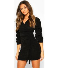 knitted ruched sleeve belted mini dress, black