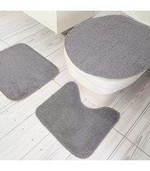 jogo de banheiro tapetes júnior algodão color pop 3 peças cinza com base antiderrapante