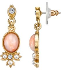 downton abbey gold-tone peach color simulated pearl and crystal drop earrings