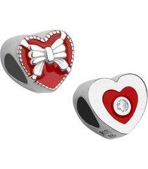 berloque de prata coração com laço moments