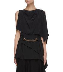 chain belt drape sleeveless top