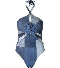 amir slama panelled swimsuit - blue