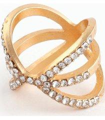 anillo con cristales dorado uni