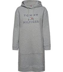 inj tiara hooded dress ls dresses t-shirt dresses grå tommy hilfiger
