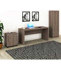 conjunto de escritório com mesa, armário alto e gaveteiro 03 carvalho dallas