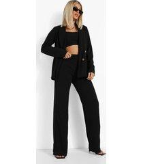 blazer met knopen en broek met naaddetail set, black