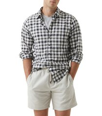 men's rodd & gunn throndon sport fit check print button-up shirt, size xxx-large - green