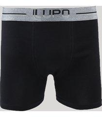cueca boxer masculina lupo em algodão preta