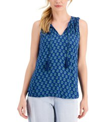 style & co petite printed tassel-tie sleeveless top, created for macy's
