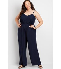 maurices plus size womens blue lace bodice paperbag waist jumpsuit