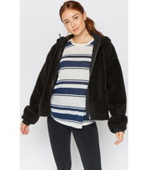 thread supply hooded sherpa zip up jacket