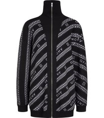 black and white logo chain zipped sweater