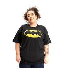 camiseta plus size batman logo clássico preto