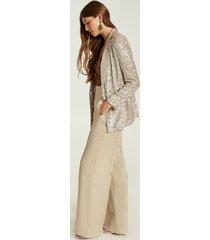motivi pantaloni palazzo in tessuto shiny donna beige