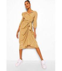 geplooide bloemenpatroon midaxi blouse jurk, mustard
