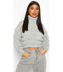 petite bubble knit roll neck sweater, grey