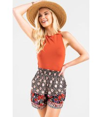 poppy border print mix shorts - black