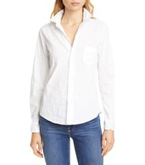 women's frank & eileen barry signature crinkle cotton shirt, size x-large - white