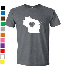 wisconsin shirt love home heart t-shirt funny humor state apparel college