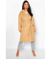 petite wool look belted wrap coat, camel