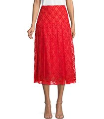 embroidered pleated silk skirt