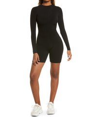 women's naked wardrobe short & snatched long sleeve romper, size medium - black