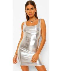 petite metallic bodycon jurk met vierkante hals, silver