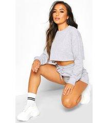 petite loungewear set met sweater en shorts, grey