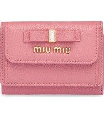miu miu bow embellished tri-fold wallet - pink