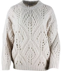brunello cucinelli crewneck sweater in knitted alpaca with loose weave