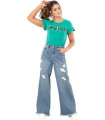 jeans wide leg prenses azul ragged pf51350238
