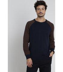 suéter masculino em tricô raglan listrado azul marinho