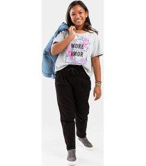 franki denim paperbag pants for girls in black - black
