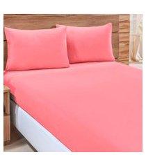 jogo de cama city rosa liso queen 03 peças - malha 100% algodáo