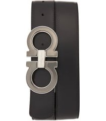 men's salvatore ferragamo reversible leather belt, size 44 - nero