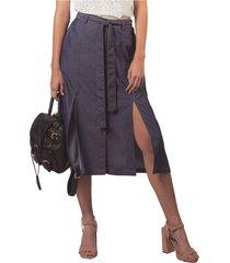 falda adrissa midi efecto denim con costuras en contraste azul indigo