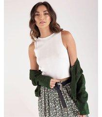 camiseta tejida para mujer crudo con efecto acanalado