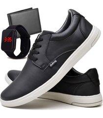 tãªnis sapatãªnis casual fashion com carteira e relã³gio led masculino dubuy 1401el preto - preto - masculino - sintã©tico - dafiti