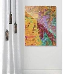 "creative gallery sunset beach tanning on yellow abstract 16"" x 20"" acrylic wall art print"