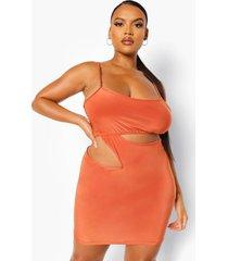 plus zachte bodycon jurk met bandjes en uitsnijding, oranje