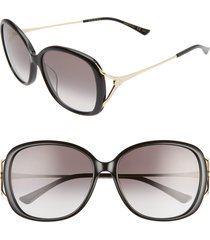women's gucci 58mm round sunglasses - black