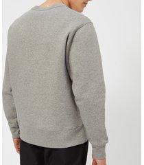 acne studios men's face logo crewneck sweatshirt - light grey melange - l - grey