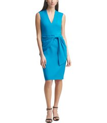 eliza j scuba-crepe side-tie sheath dress