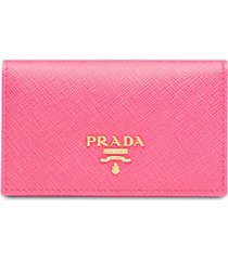 prada logo-plaque folding wallet - pink