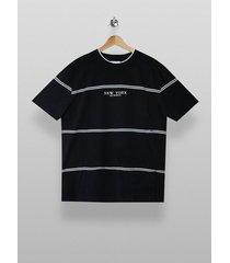 mens black and white stripe new york t-shirt